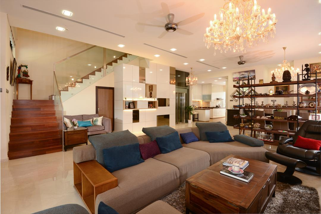 Brockhampton Drive, Darwin Interior, Modern, Contemporary, Living Room, Landed, Modern Contemporary Living Room, Staircase, Crystal Chandelier, Kdk Ceiling Fan, Built In Cabinet, Couch, Furniture
