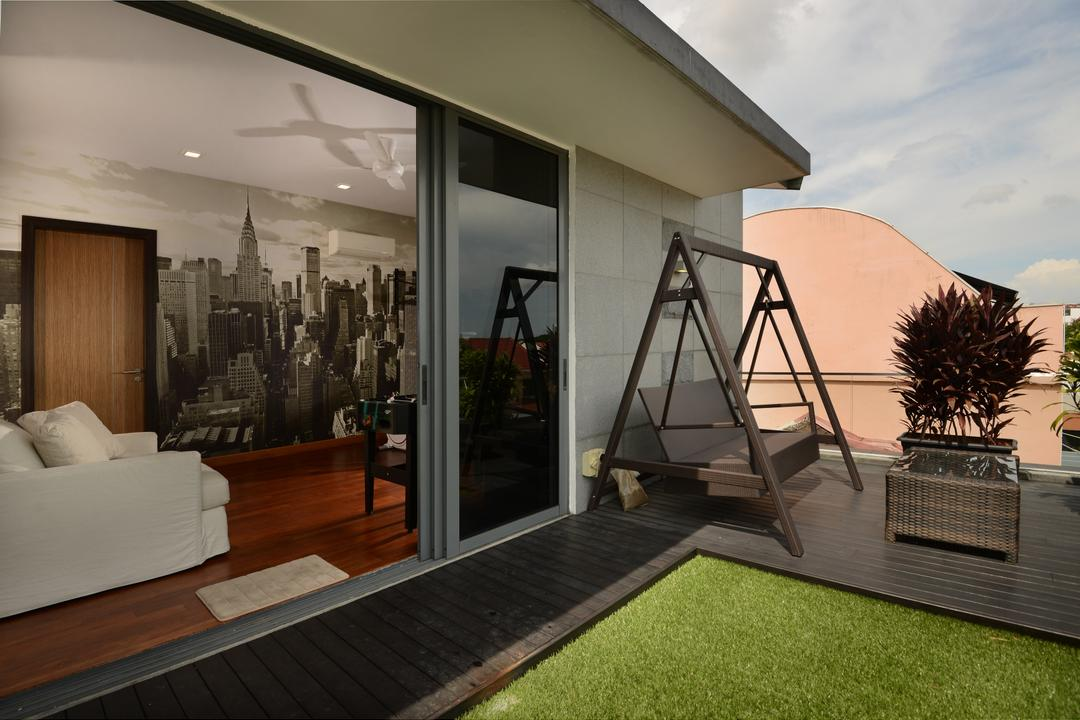 Brockhampton Drive, Darwin Interior, Modern, Contemporary, Balcony, Landed, Spacious Balcony, Outdoor Swing, Contemporary Outdoor Furniture, Sliding Door, Wooden Flooring, Rooftop, Nyc Wallpaper, Kdk Ceiling Fan, Modern Sofa, Outdoor Grass Carpet, Flora, Jar, Plant, Potted Plant, Pottery, Vase, Building, House, Housing, Villa