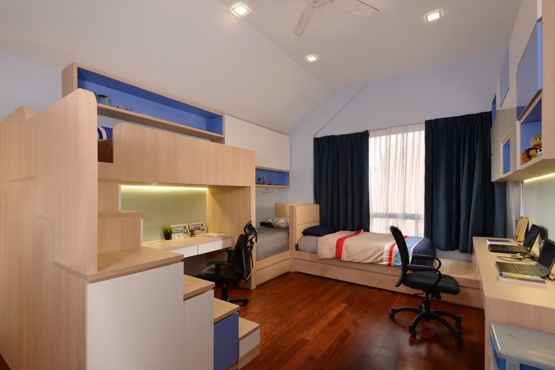 Brockhampton Drive, Darwin Interior, Modern, Contemporary, Bedroom, Landed, Attic Bedroom, Platform Bed, Downlights, Built In Cabinet, Wooden Flooring, Sling Curtain, High Ceiling, Built In Shelves, Built In Study Table, Glass Panel, HDB, Building, Housing, Indoors, Interior Design