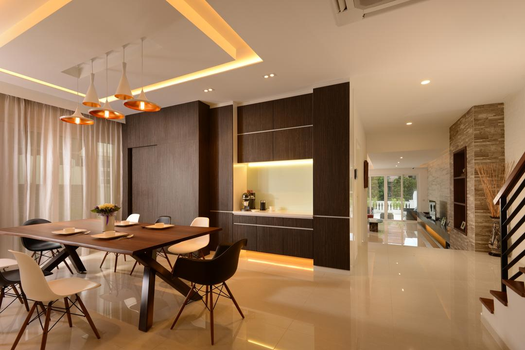 Jalan Tempua, Darwin Interior, Modern, Contemporary, Dining Room, Landed, Contemporary Dining Room, Dsw Chair, Modern Dining Table, Pendant Lighting, False Ceiling, Marble Flooring, Cove Lighting, Curtain, Chair, Furniture, Indoors, Interior Design, Room, Dining Table, Table