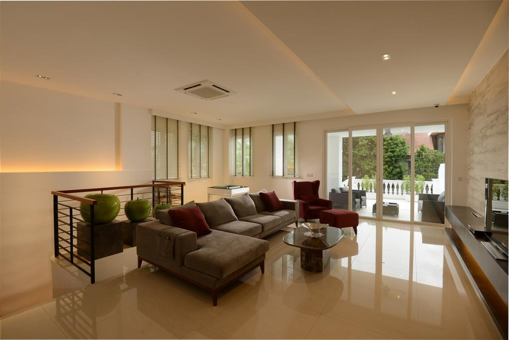 Modern, Landed, Living Room, Jalan Tempua, Interior Designer, Darwin Interior, Contemporary, Couch, Furniture, Indoors, Room, Interior Design