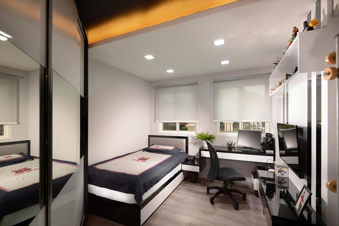 Melville Park, Darwin Interior, Modern, Contemporary, Bedroom, Condo, Modern Bedroom, False Ceiling, Downlights, Cove Lighting, Single Bed, Wall Mounted Tv, Floating Console, Built In Shelves, Indoors, Interior Design