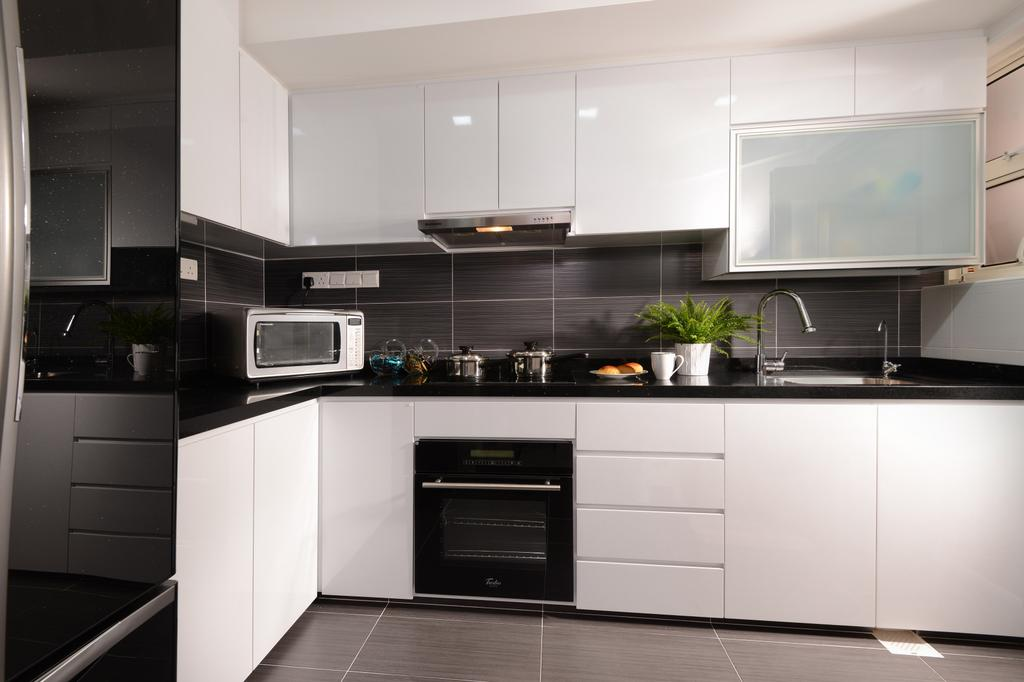 Modern, Condo, Kitchen, Melville Park, Interior Designer, Darwin Interior, Contemporary, Contemporary Kitchen, Kitchen Tiles, Built In Cupboard, White Cupboard, Indoors, Interior Design, Room, Appliance, Electrical Device, Oven