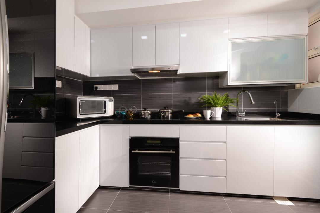 Melville Park, Darwin Interior, Modern, Contemporary, Kitchen, Condo, Contemporary Kitchen, Kitchen Tiles, Built In Cupboard, White Cupboard, Indoors, Interior Design, Room, Appliance, Electrical Device, Oven