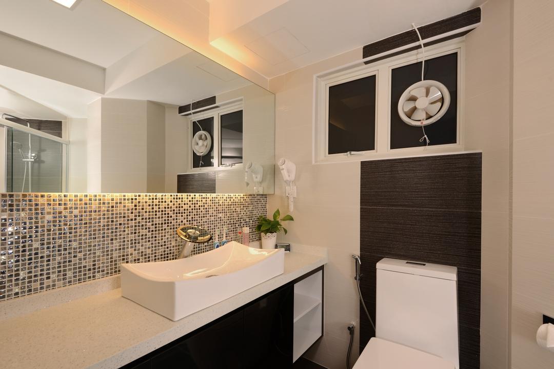 Melville Park, Darwin Interior, Modern, Contemporary, Bathroom, Condo, Modern Bathroom, Mosaic Tiles, Contemporary Toilet Bowl, Vessel Sink, Sink Countertop, Sink, Indoors, Interior Design, Room