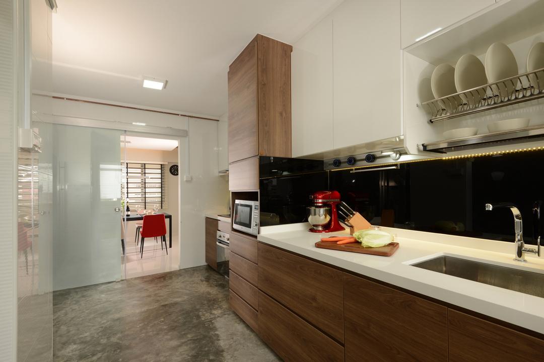 Pasir Ris, Darwin Interior, Contemporary, Kitchen, HDB, Modern Contemporary Kitchen, Cement Flooring, Downlight, Built In Drying Dish Rack, Built In Appliances, Flooring, Indoors, Interior Design