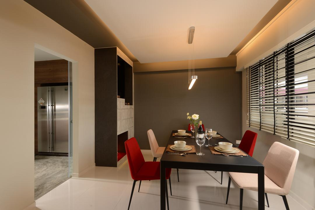 Pasir Ris, Darwin Interior, Contemporary, Dining Room, HDB, Modern Dining Set, Contemporary Dining Room, Built In Cabinet, Blinds, Cove Lighting, False Ceiling, Chair, Furniture, Dining Table, Table, Indoors, Interior Design, Room