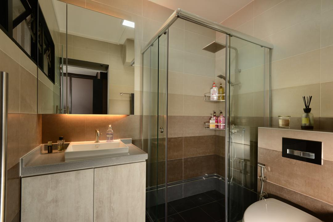 Pasir Ris, Darwin Interior, Contemporary, Bathroom, HDB, Shower Screen, Boxy Sink, Sink Countertop, Laminated Countertop, Wall Mirror Cabinet, In Built Flushing System, Indoors, Interior Design, Room, Appliance, Electrical Device, Microwave, Oven, Sink, Building, Housing