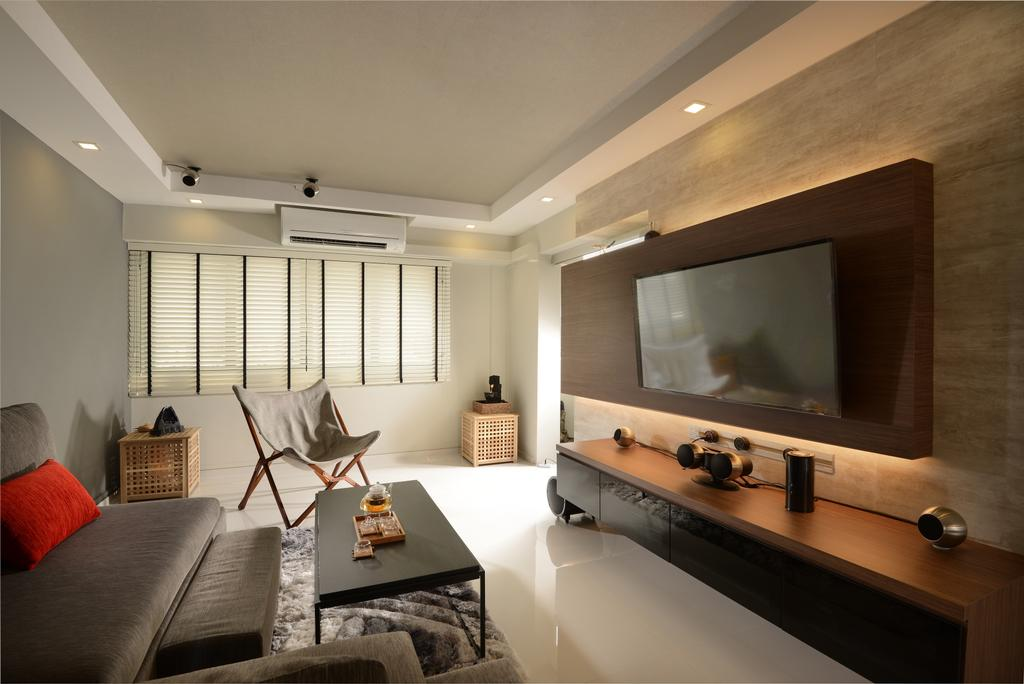 Contemporary, HDB, Living Room, Pasir Ris, Interior Designer, Darwin Interior, Contemporary Living Room, False Ceiling, Downlights, Floating Console, Blinds, Marble Wall, Indoors, Interior Design, Sink, Furniture, Hammock, Room