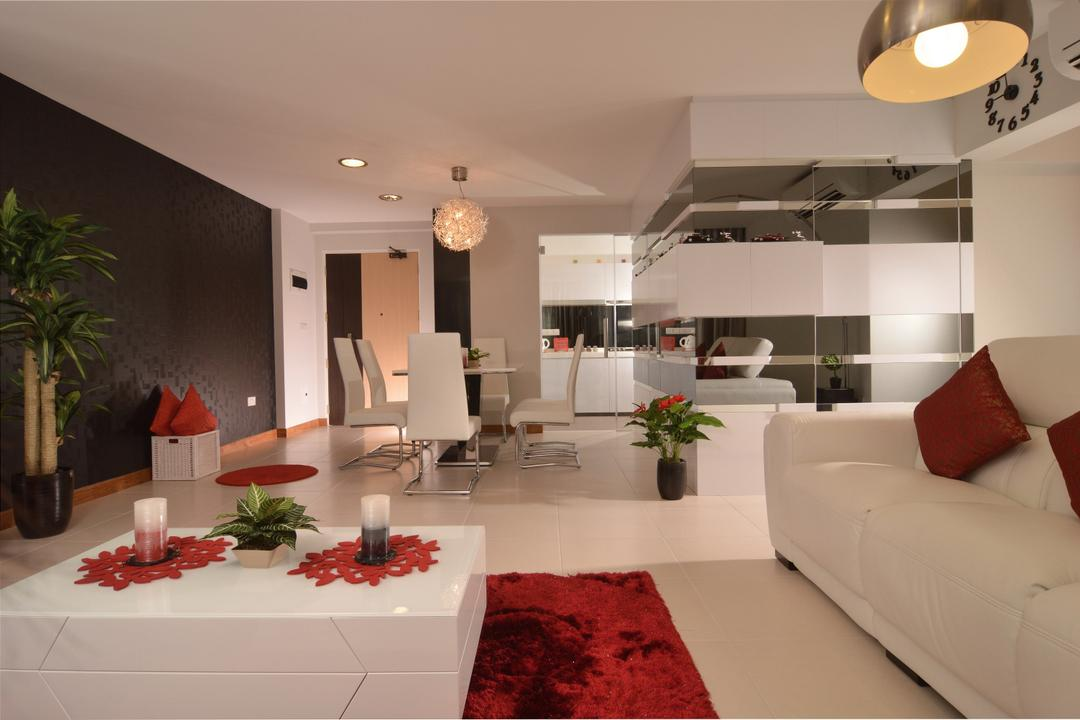 Punggol Place, Darwin Interior, Contemporary, Living Room, HDB, Contemporary Living Room, Modern Sofa, Pendant Lighting, Downlights, Fluffy Red Carpet, Wall Panel, Flora, Jar, Plant, Potted Plant, Pottery, Vase, Couch, Furniture, Indoors, Interior Design, Home Decor, Linen, Tablecloth