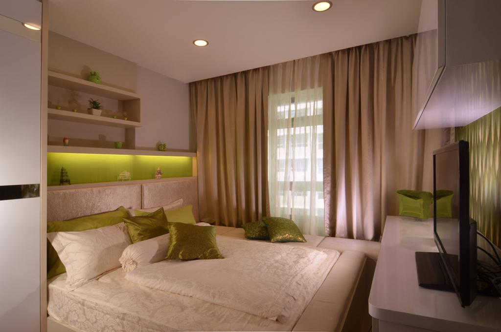 Contemporary, HDB, Bedroom, Punggol Place, Interior Designer, Darwin Interior, Cosy Bedroom, Tv Stand, Sling Curtain, Downlights, Wall Shelves, Glass Panel, Built In Cupboard, Indoors, Interior Design, Room, Couch, Furniture
