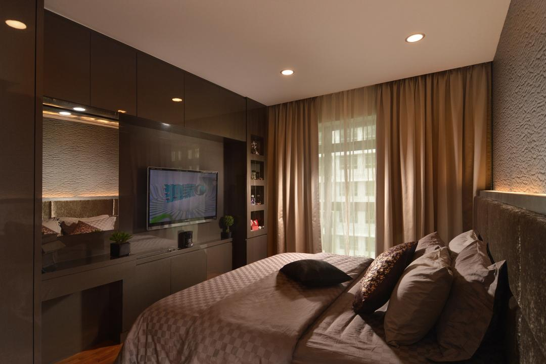 Punggol Place, Darwin Interior, Contemporary, Bedroom, HDB, Contemporary Bedroom, Sling Curtain, Tv Wall Panel, Mirror, Bed Feature Wall, Downlights, Cosy, Wall Mounted Tv