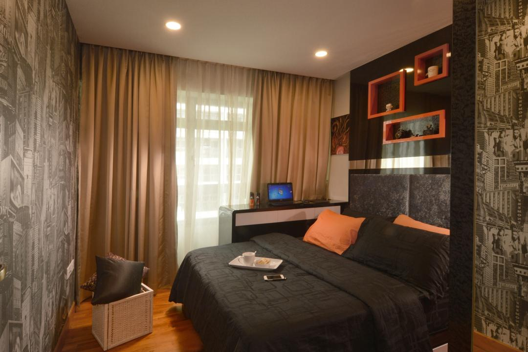 Punggol Place, Darwin Interior, Contemporary, Bedroom, HDB, Cosy Bedroom, Nyc Wallpaper, Sling Curtain, Built In Wall Shelves, Downlights, Indoors, Interior Design, Room, Couch, Furniture