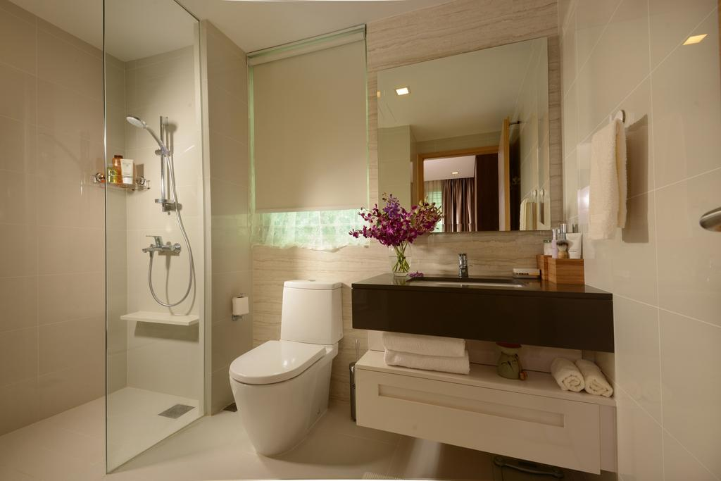 Modern, Condo, Bathroom, Tree House, Interior Designer, Darwin Interior, Modern Contemporary Bathroom, Roll Blinds, Glass Shower, Sink Countertop, Downlights, Mirror Cabinet, Contemporary Toilet Bowl, Indoors, Interior Design, Room, Molding, Plumbing, Altar, Architecture, Building, Toilet