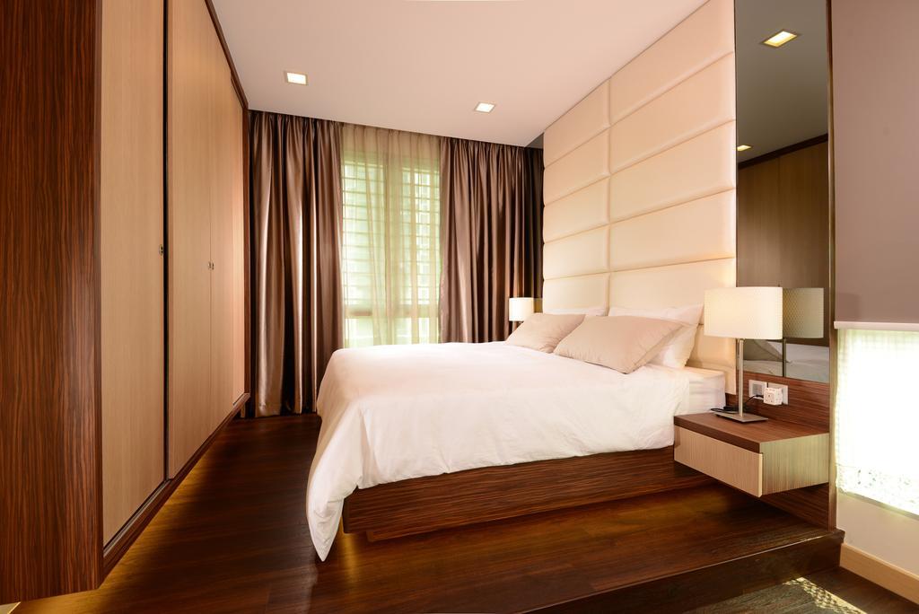 Modern, Condo, Bedroom, Tree House, Interior Designer, Darwin Interior, Contemporary Bedroom, Padded Bed Wall, Sling Curtain, Built In Sliding Wardrobe, Built In Side Table, Wooden Platform