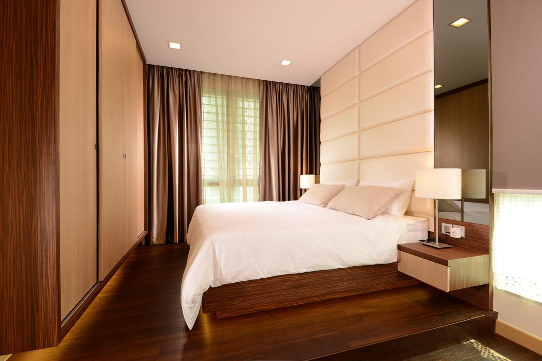 Tree House, Darwin Interior, Modern, Bedroom, Condo, Contemporary Bedroom, Padded Bed Wall, Sling Curtain, Built In Sliding Wardrobe, Built In Side Table, Wooden Platform