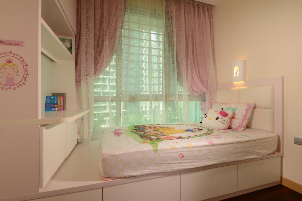 Modern, Condo, Bedroom, Tree House, Interior Designer, Darwin Interior, Girl Bedroom, Sling Curtain, Platform Bed, Built In Cabinet, Built In Shelves, Carpentry, Pink, Indoors, Interior Design, Room