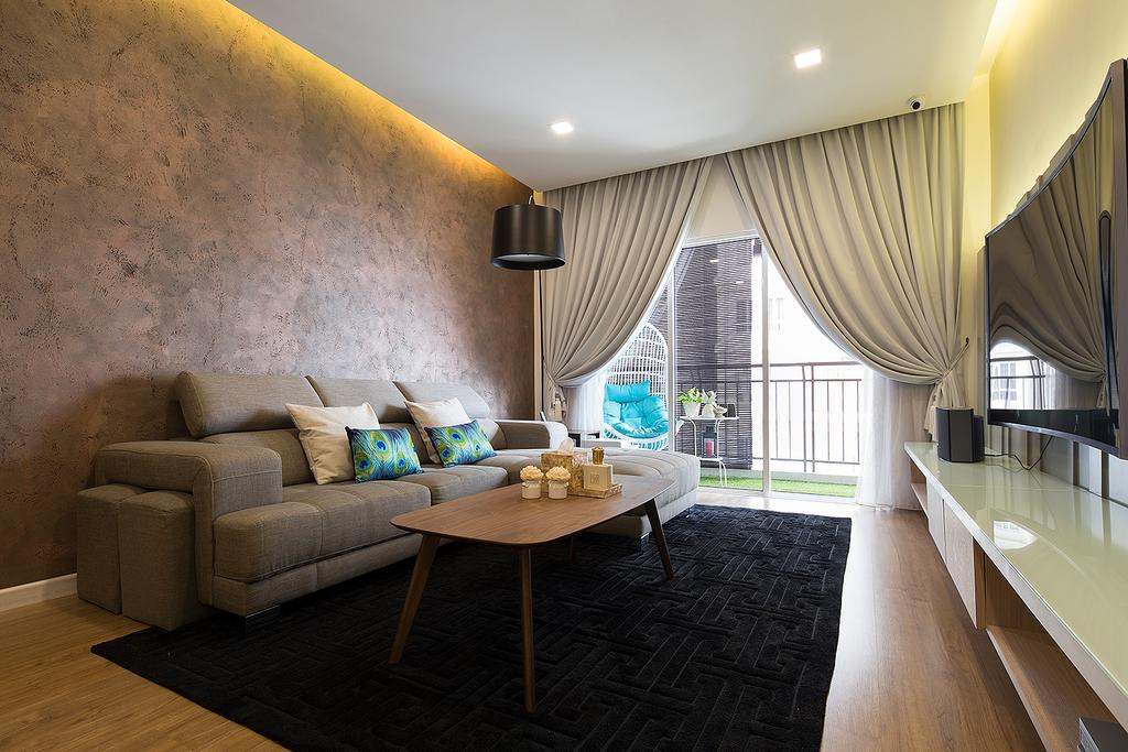 Modern, Condo, Living Room, Waldorf Tower, Mont Kiara, Interior Designer, Box Design Studio Sdn Bhd, Eclectic, Vintage