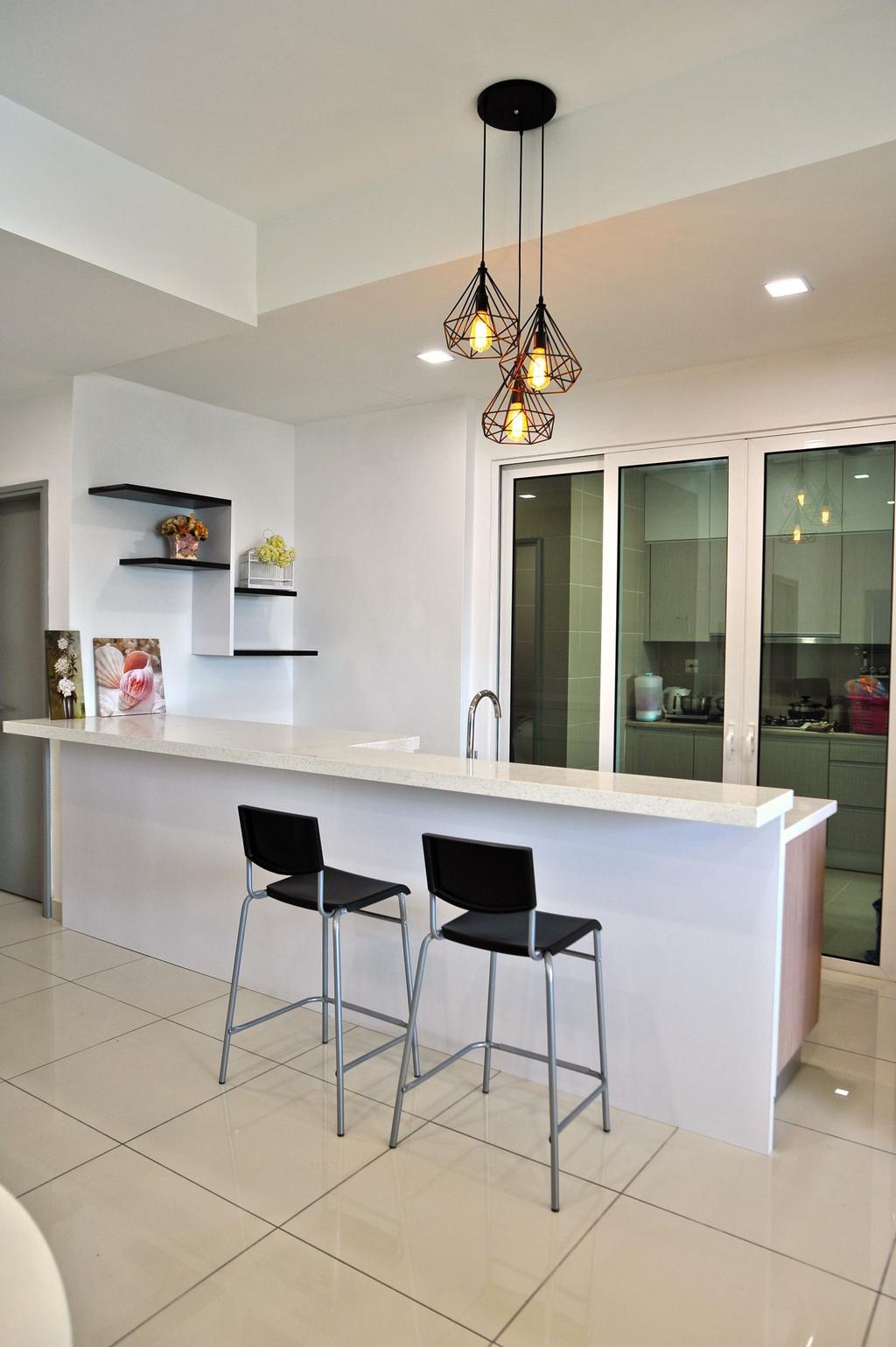 Modern, Condo, Kitchen, Royal Regent Putramas 3, Interior Designer, Spazio Design Sdn Bhd, Contemporary, Chair, Furniture, Bar Stool, Dining Room, Indoors, Interior Design, Room