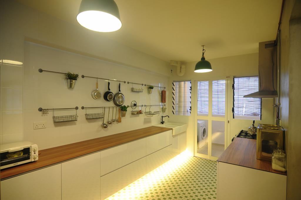 Industrial, HDB, Kitchen, Yishun Natura (Block 342), Interior Designer, Superhome Design, Concealed Lighting, Wood Laminate, White Laminate, Kitchen Tiles