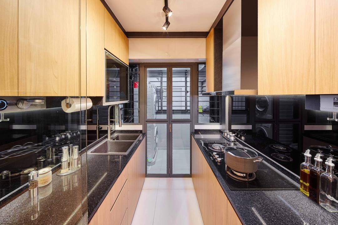 Punggol Walk (Block 310B), Absolook Interior Design, Contemporary, Kitchen, HDB, Contemporary Kitchen, Track Light, Stove Countertop, Carpentry, Kitchen Glass Panel, Bottle, Brewery, Building, Factory