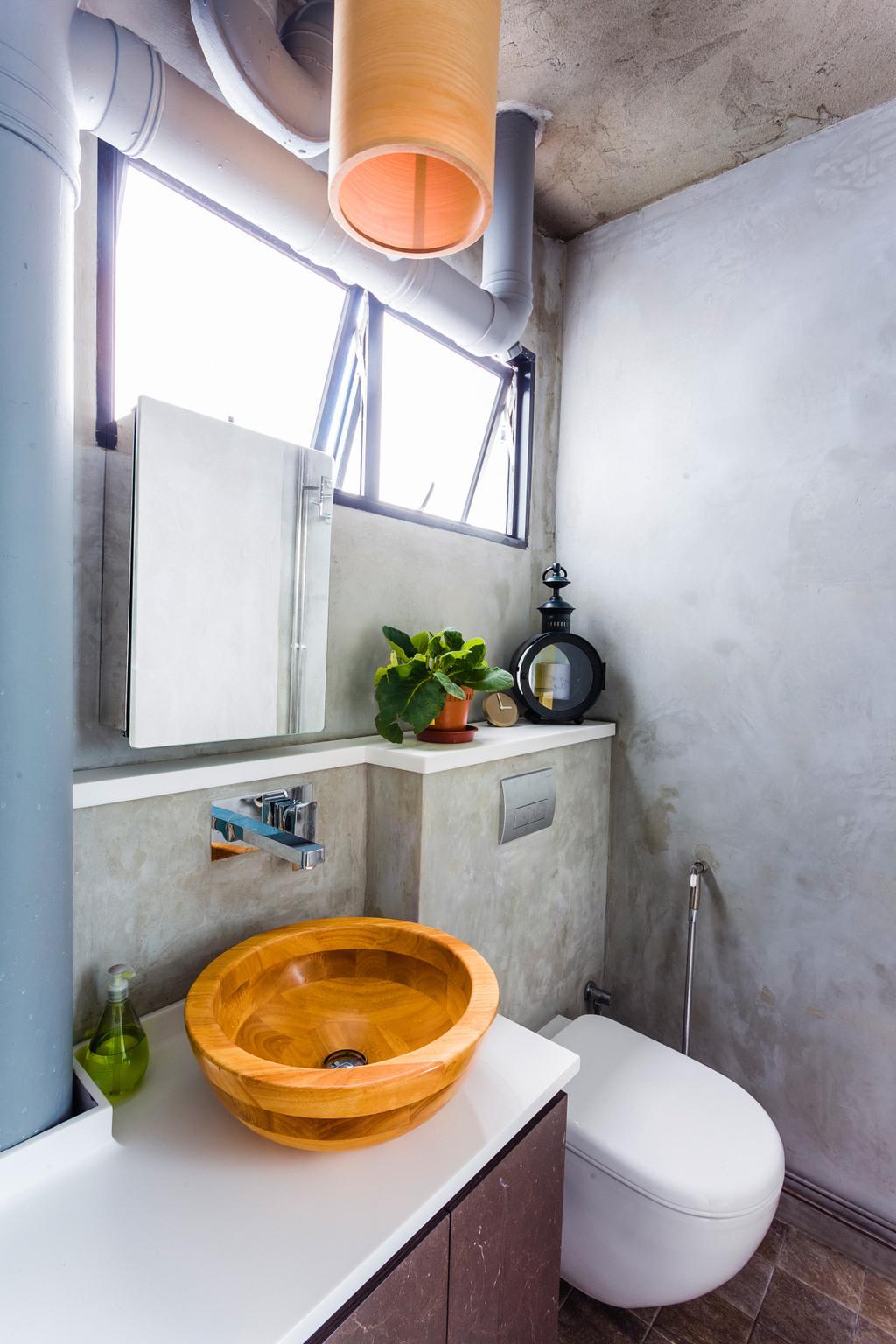 Eclectic, HDB, Bathroom, Woodlands (Block 820), Interior Designer, Prozfile Design, Wooden Sink, Vessel Sink, Hanging Light, Flora, Jar, Plant, Potted Plant, Pottery, Vase