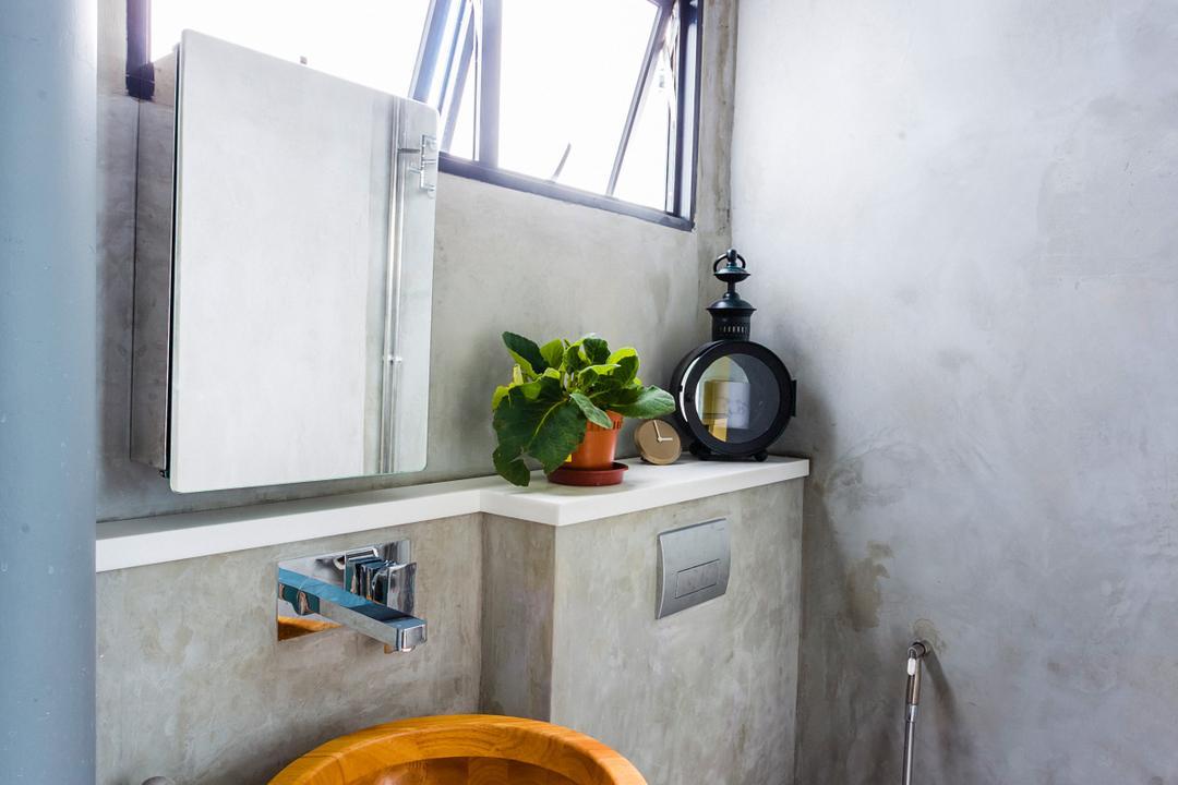 Woodlands (Block 820), Prozfile Design, Eclectic, Bathroom, HDB, Wooden Sink, Vessel Sink, Hanging Light, Flora, Jar, Plant, Potted Plant, Pottery, Vase