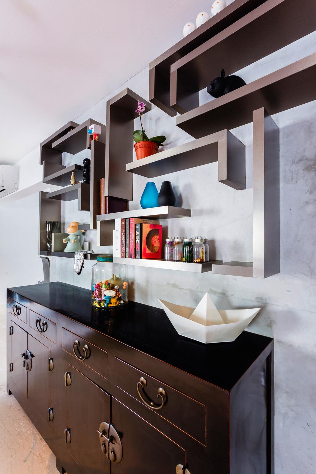 Eclectic, HDB, Study, Woodlands (Block 820), Interior Designer, Prozfile Design, Display Shelf