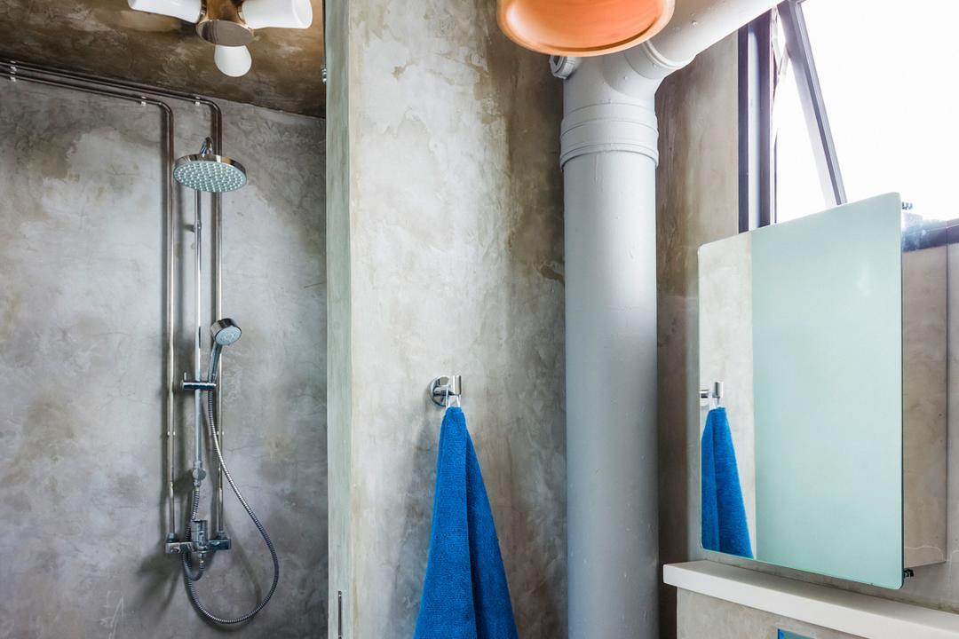 Woodlands (Block 820), Prozfile Design, Eclectic, Bathroom, HDB, Wooden Sink, Hanging Light, Bathroom Tiles, Towel, Plumbing