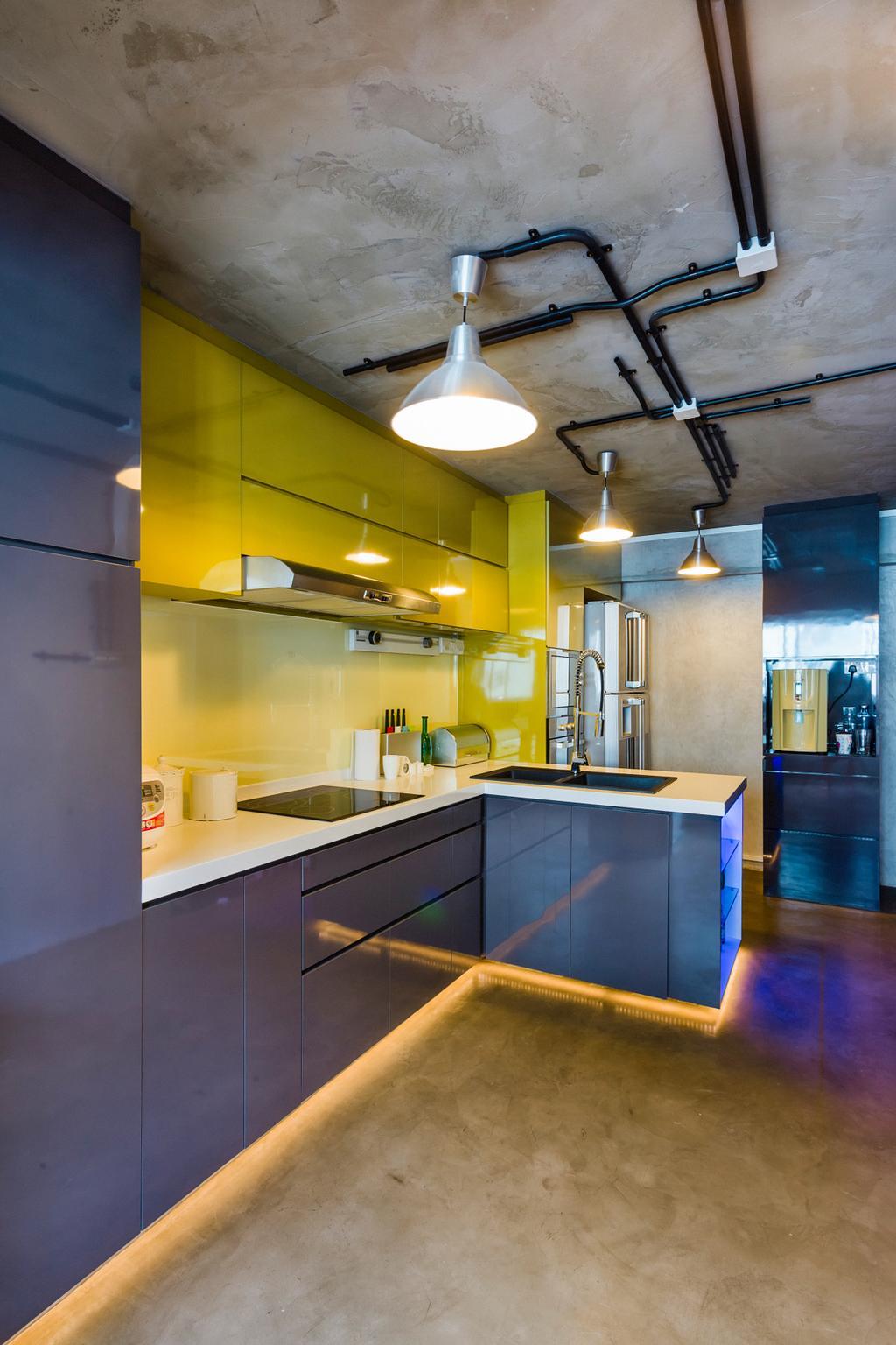 Eclectic, HDB, Kitchen, Woodlands (Block 820), Interior Designer, Prozfile Design, Concealed Lighting, Hanging Light
