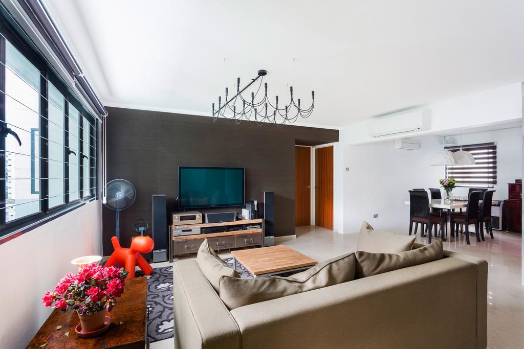 Eclectic, HDB, Living Room, Woodlands (Block 820), Interior Designer, Prozfile Design, Console, Laminate, Hanging Light, Couch, Furniture