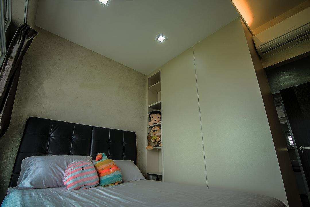 Yishun, Ai Concept, Traditional, Bedroom, HDB, Modern Bedroom, Padded Headboard, False Ceiling, Cove Lighting, Wallpaper, Built In Wardrobe, Built In Storage Unit, Indoors, Interior Design, Room