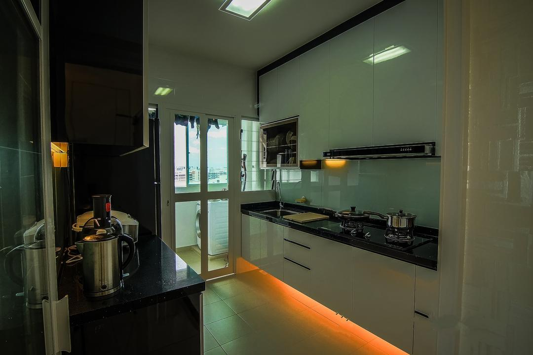 Yishun, Ai Concept, Traditional, Kitchen, HDB, Modern Kitchen, Downlight, Built In Cupboard, Ceiling Light, Stove Countertop, Laminated Countertop