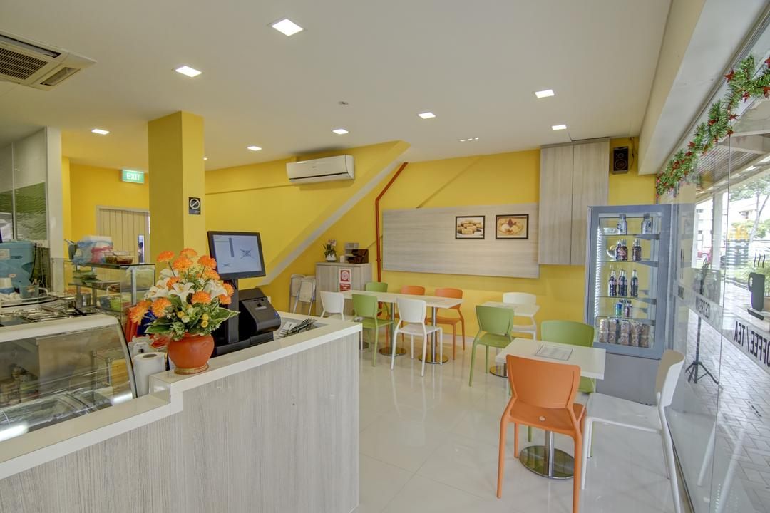 Cafe @Potong Pasir, Ai Concept, Minimalistic, Commercial, Dessert Cafe, Yellow Wall, Carpentry, Glass Panel, Polypropylene Chair, Downlights, Flora, Jar, Plant, Potted Plant, Pottery, Vase, Sink