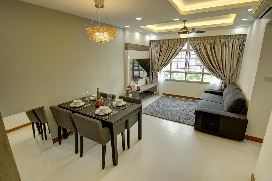 Punggol, Ai Concept, Traditional, Living Room, HDB, Modern Traditional Living Room, False Ceiling, Cove Lighting, Ceiling Fan, Modern Dining Set, Downlights, Floating Console, Neutral Wall, Nest Chandelier, Grey Carpet, Tv Wall Panel, Dining Table, Furniture, Table, Dining Room, Indoors, Interior Design, Room