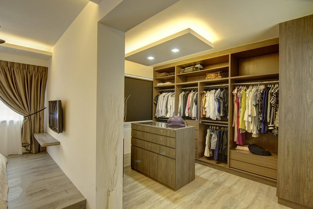 Punggol, Ai Concept, Traditional, Bedroom, HDB, Modern Bedroom, Walk In Wardrobe, False Ceiling, Cove Lighting, Downlights, Wooden Platform, Built In Wardrobe, Banister, Handrail, Staircase, Indoors, Interior Design, Bookcase, Furniture, Closet, Wardrobe