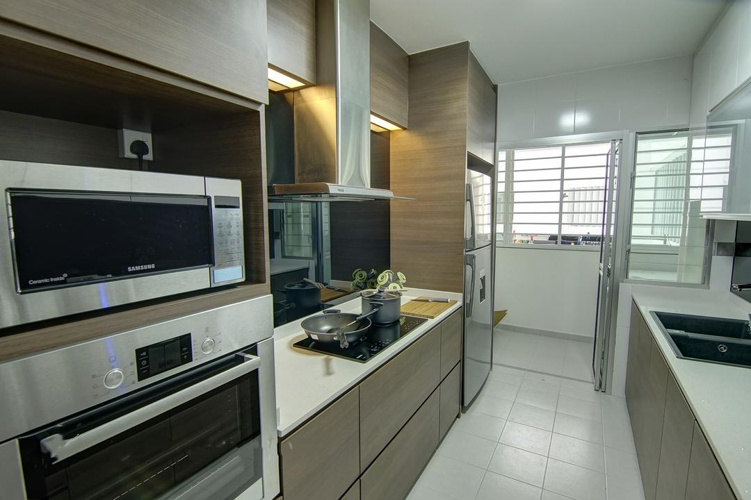 Punggol, Ai Concept, Traditional, Kitchen, HDB, Modern Kitchen, Built In Appliances, Stove Countertop, Carpentry, Ceramic Tiles, Laminated Countertop, Indoors, Interior Design, Room
