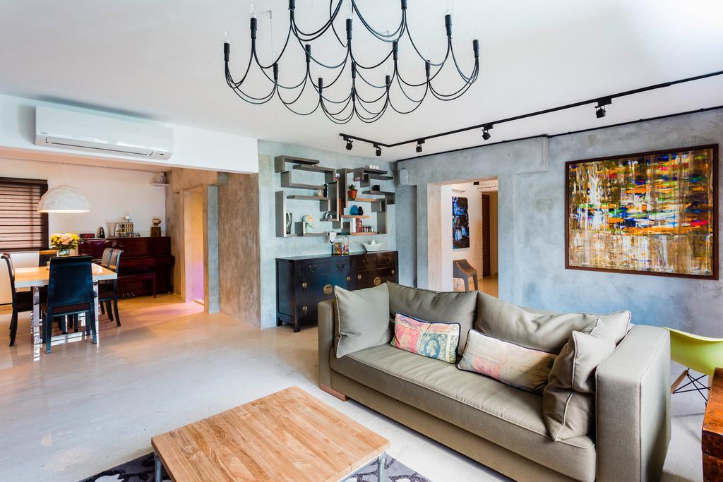 Eclectic, HDB, Living Room, Woodlands (Block 820), Interior Designer, Prozfile Design, Art, Wallpaper, Couch, Furniture, Flooring, Indoors, Interior Design