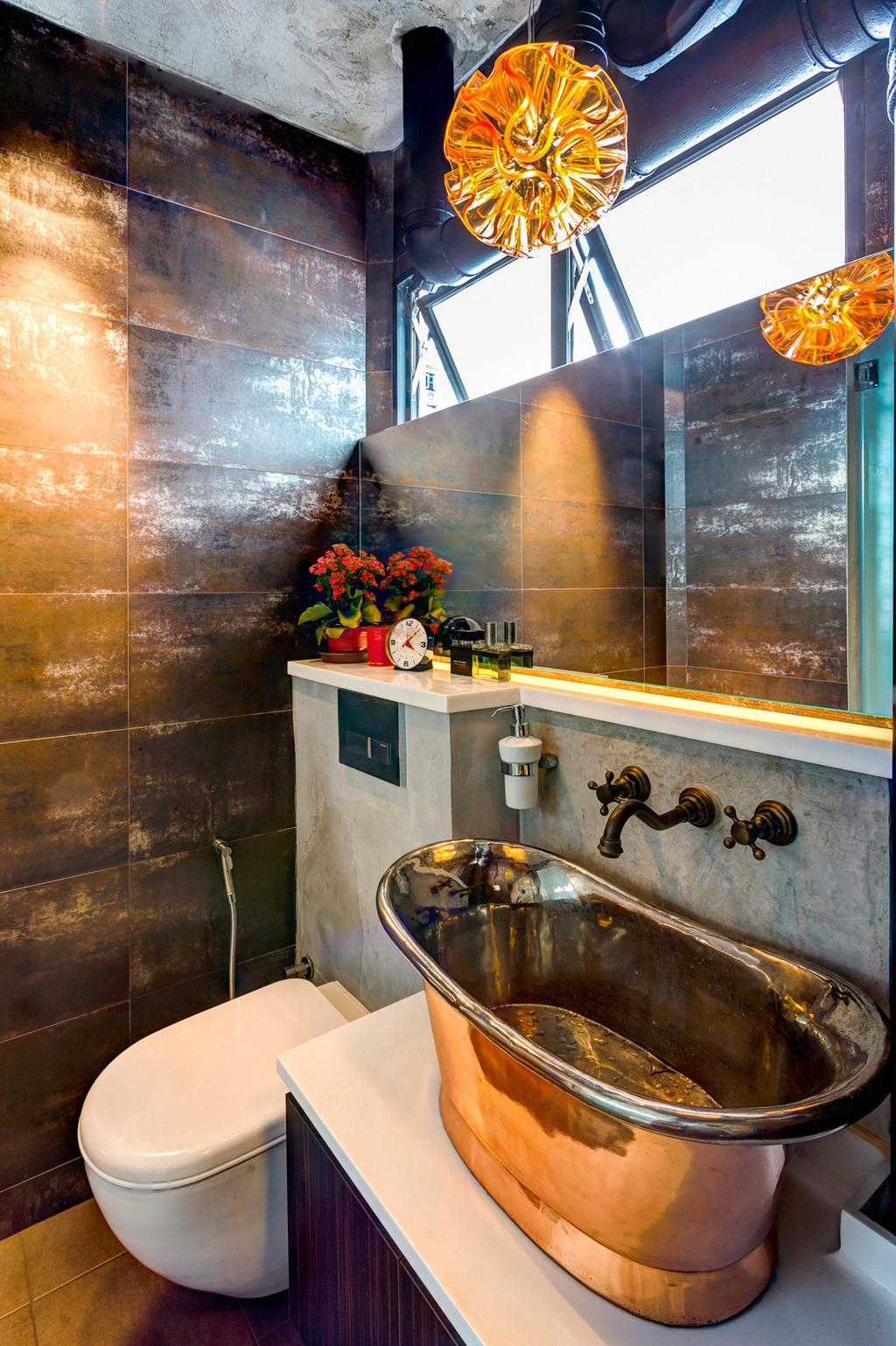 Eclectic, HDB, Bathroom, Woodlands (Block 820), Interior Designer, Prozfile Design, Vessel Sink, Wooden Sink, Flora, Jar, Plant, Potted Plant, Pottery, Vase