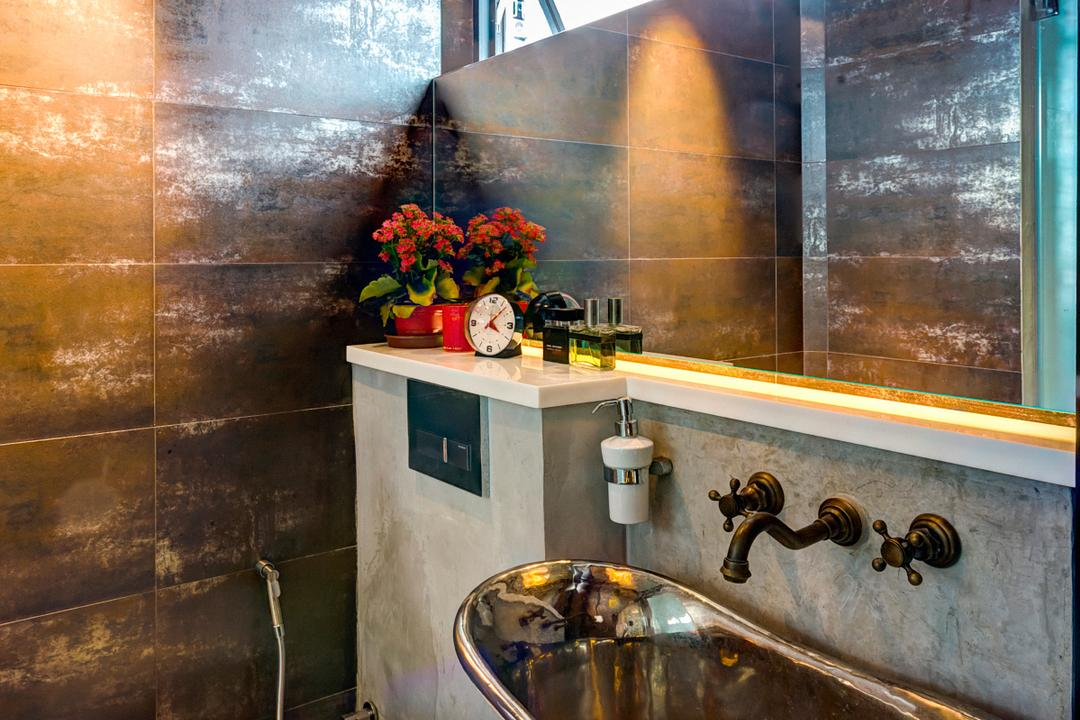 Woodlands (Block 820), Prozfile Design, Eclectic, Bathroom, HDB, Vessel Sink, Wooden Sink, Flora, Jar, Plant, Potted Plant, Pottery, Vase