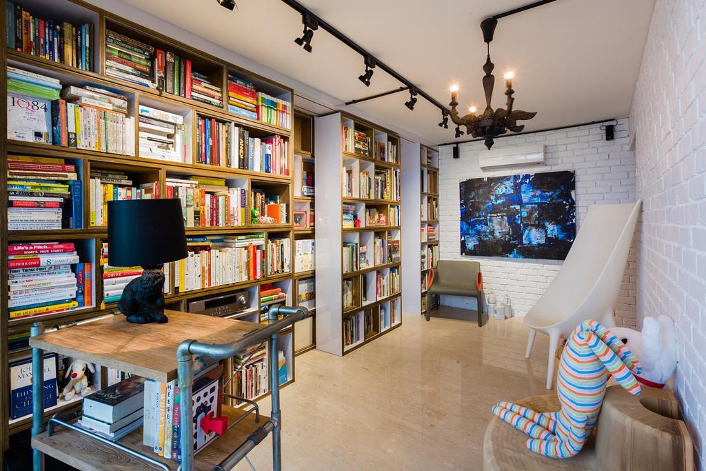 Eclectic, HDB, Study, Woodlands (Block 820), Interior Designer, Prozfile Design, Bookshelf, Book Shelf, Track Light, Trackie, Chair, Furniture, Plywood, Wood