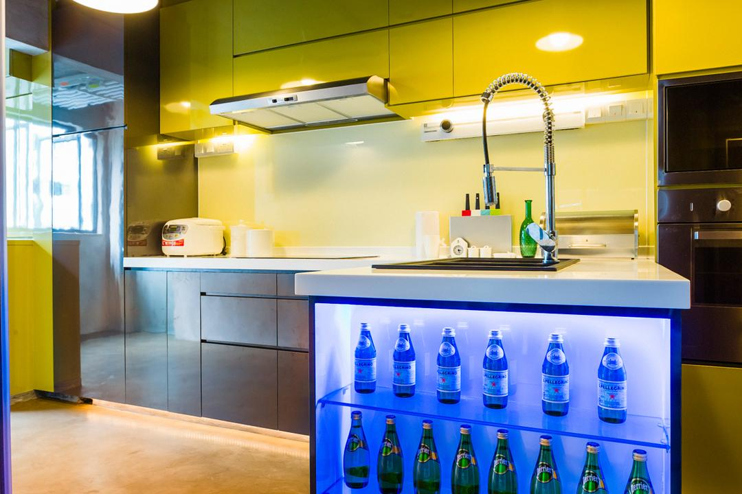 Woodlands (Block 820), Prozfile Design, Eclectic, Kitchen, HDB, Hanging Light, Glass Cabinet, Laminate, Kitchen Counter, Appliance, Electrical Device, Fridge, Refrigerator, Beverage, Bottle, Drink, Mineral Water, Water Bottle