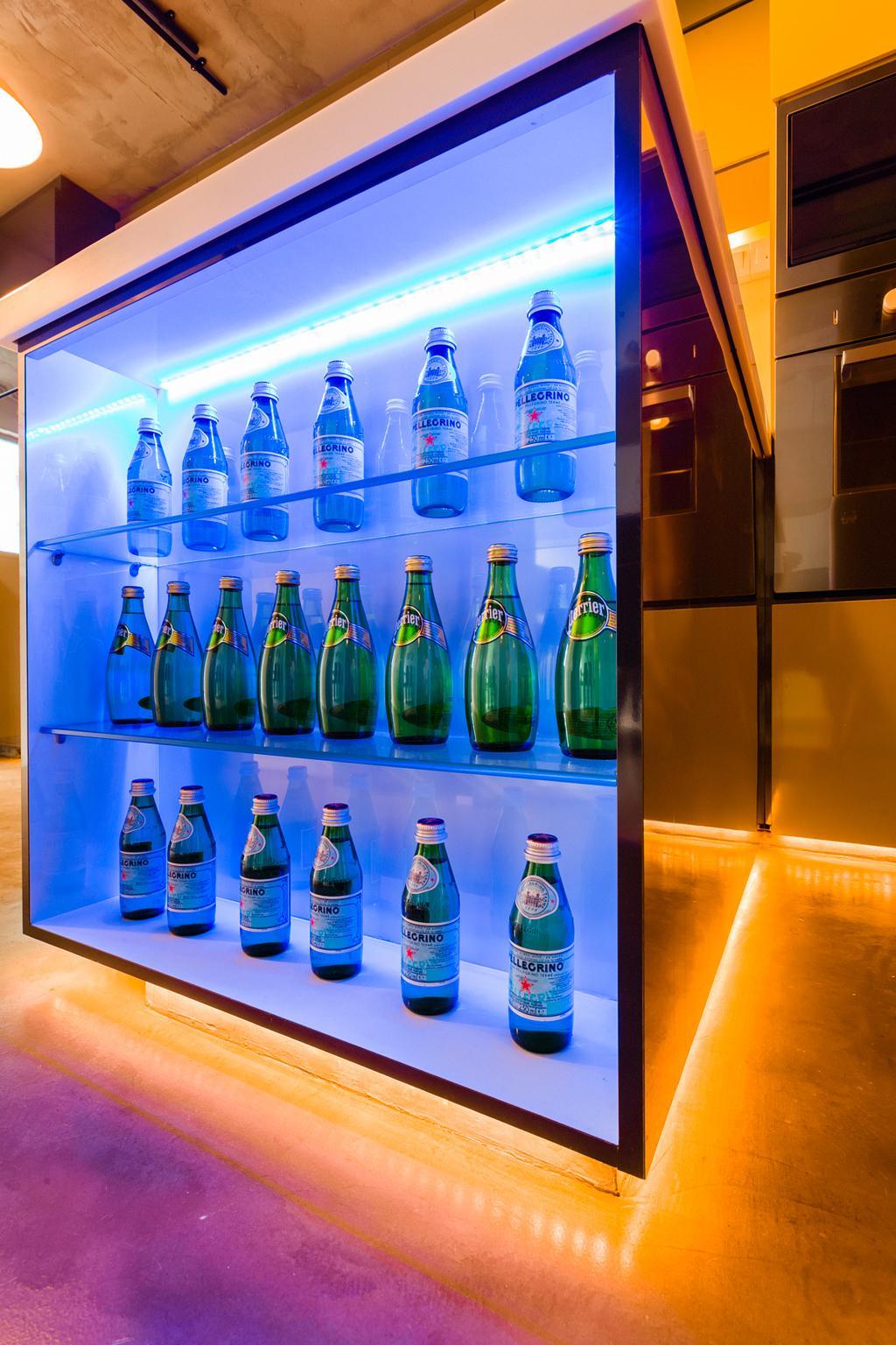 Eclectic, HDB, Kitchen, Woodlands (Block 820), Interior Designer, Prozfile Design, Glass Cabinet, Beverage, Bottle, Drink, Mineral Water, Water Bottle