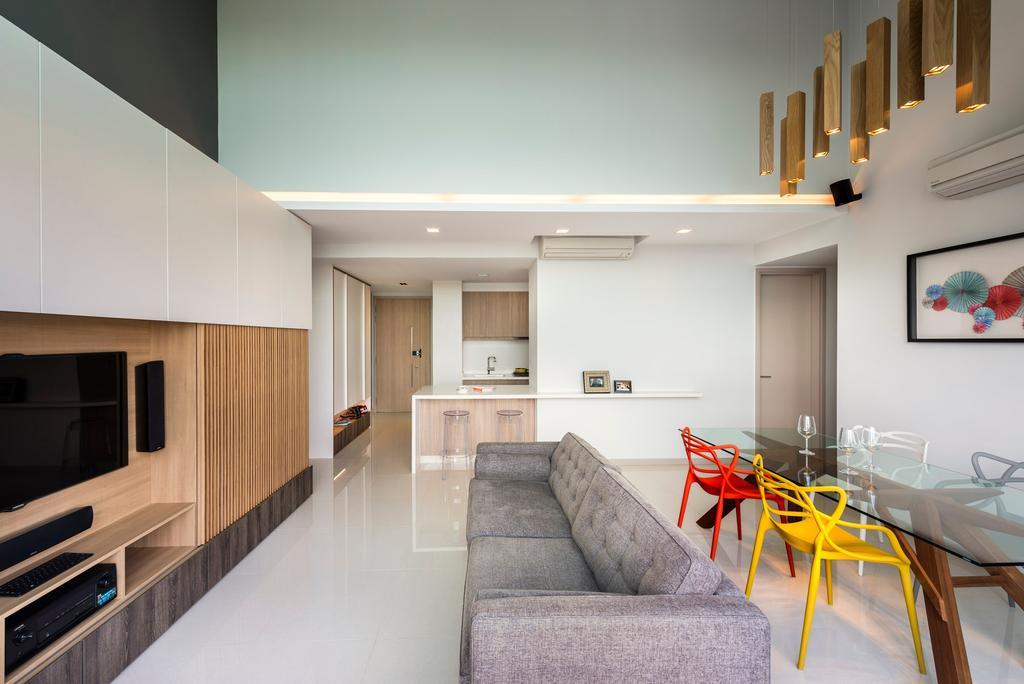 Modern, Condo, Dining Room, Optima @ Tanah Merah, Interior Designer, Prozfile Design, Wood Laminate, Tv Console, High Ceiling, Dining Table, Furniture, Table, Indoors, Interior Design, Chair