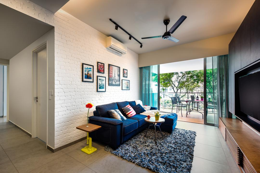 Minton, Prozfile Design, Scandinavian, Living Room, Condo, Bright Colours, Rug, Coloured, Furnishings, Wall Art, Gallery Wall, Brick Wall, HDB, Building, Housing, Indoors, Loft, Door, Folding Door