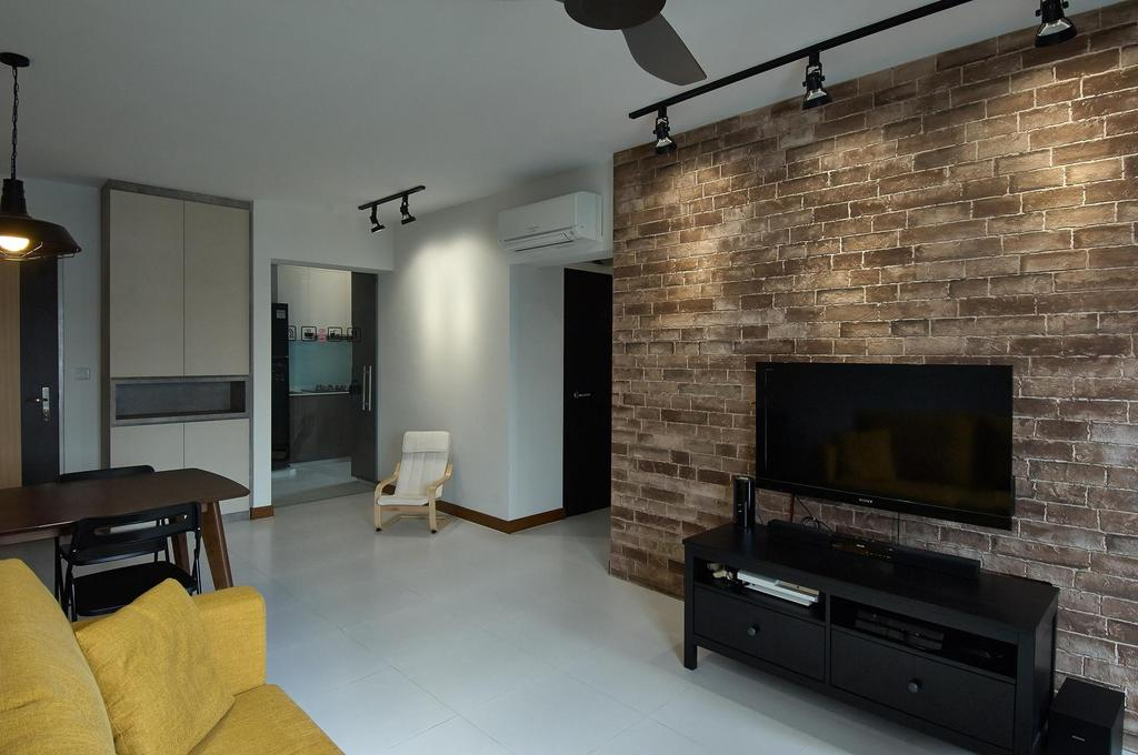 Scandinavian, HDB, Living Room, Anchorvale Horizon (Block 326D), Interior Designer, Aart Boxx Interior, Brick Wall, Tile, Track Lighting, Flatscreen Tv, Tv, Tv Console, Fireplace, Hearth