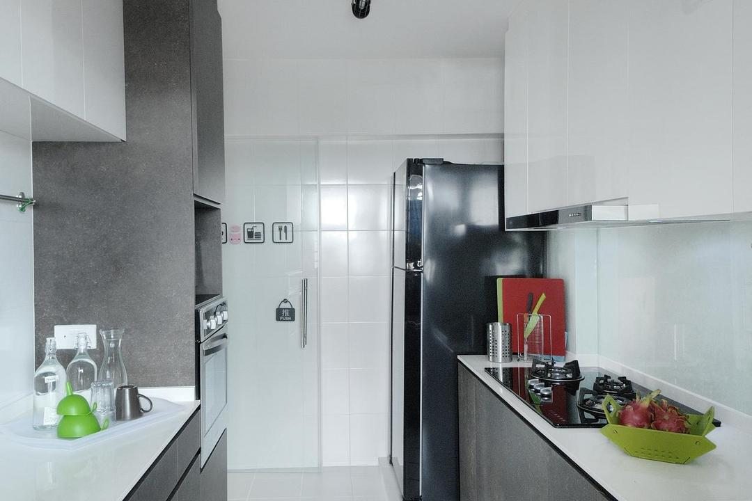 Anchorvale Horizon (Block 326D), Aart Boxx Interior, Scandinavian, Kitchen, HDB, Ceiling Lighting, Ceiling Lights, White Cabinets, Grey Cabinets, Grey Drawers, Bottle, Bathroom, Indoors, Interior Design, Room