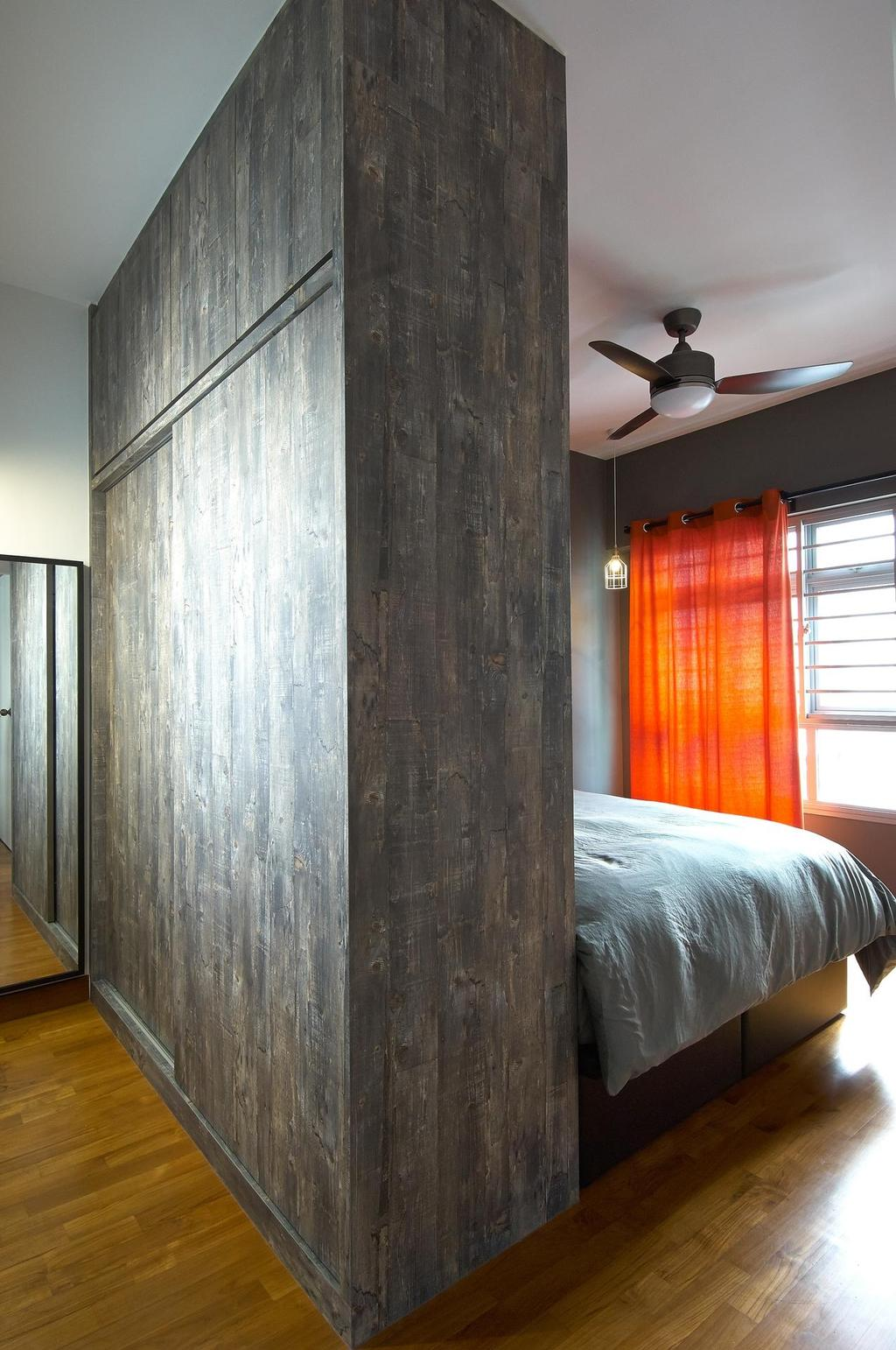 Scandinavian, HDB, Bedroom, Anchorvale Horizon (Block 326D), Interior Designer, Aart Boxx Interior, Orange Curtains, Curtains, Ceiling Fan, Wooden Flooring, Partition