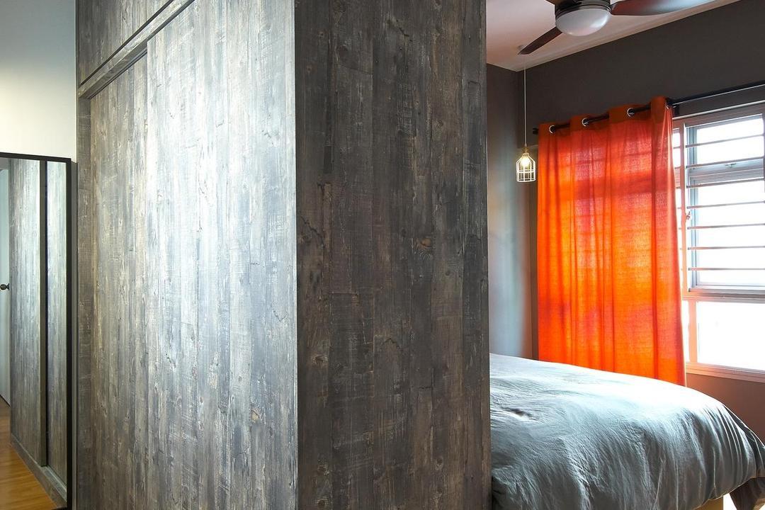 Anchorvale Horizon (Block 326D), Aart Boxx Interior, Scandinavian, Bedroom, HDB, Orange Curtains, Curtains, Ceiling Fan, Wooden Flooring, Partition
