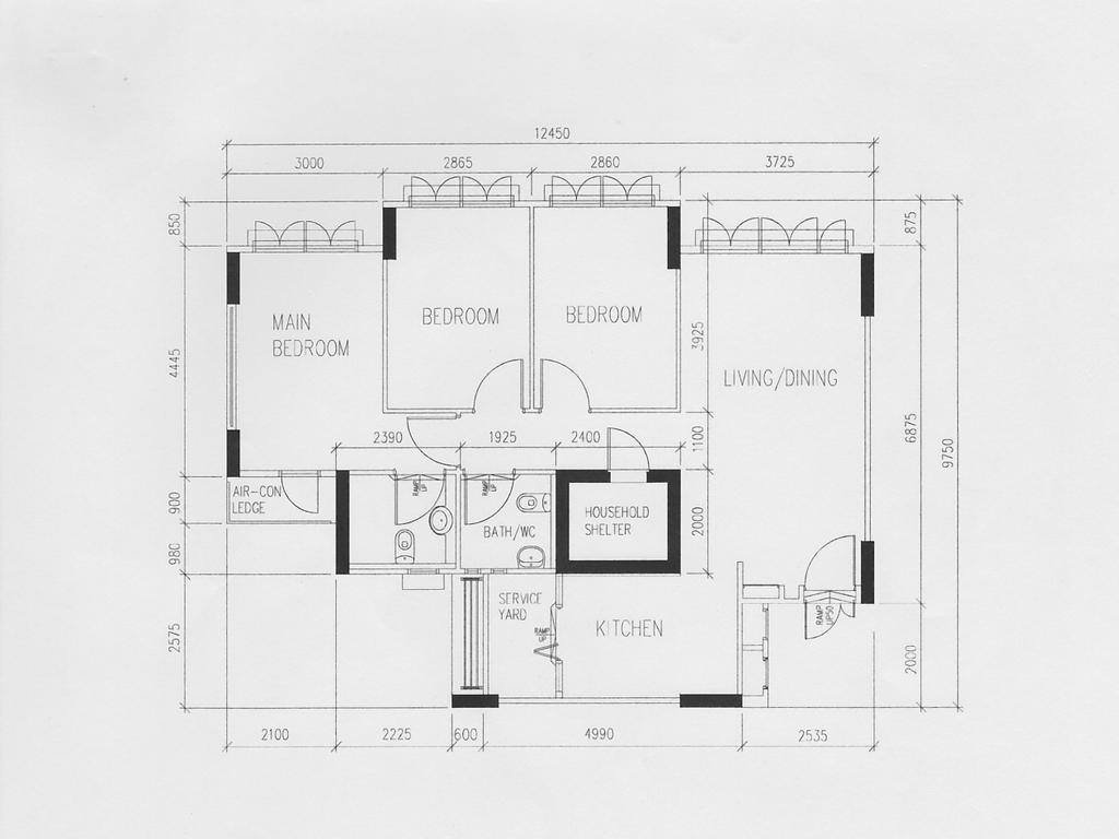 Scandinavian, HDB, Anchorvale Horizon (Block 326D), Interior Designer, Aart Boxx Interior, Floorplan, Diagram, Plan